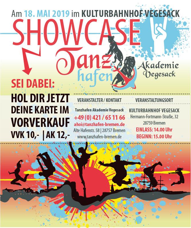 Flyer für den showcase im Tanzhafen, Hip Hop, Ballett, Karten im Vorverkauf, Bremen