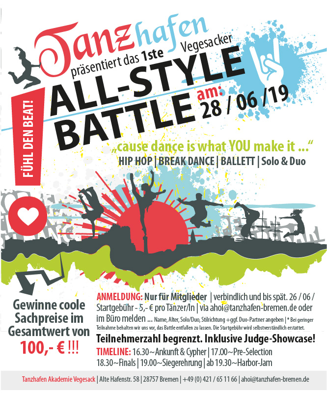 Flyer, All-style-battle Tanzhafen Vegesack