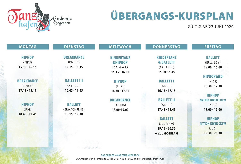 Stundenplan Tanzhafen Bremen, Ballett, HipHop, Breakdance